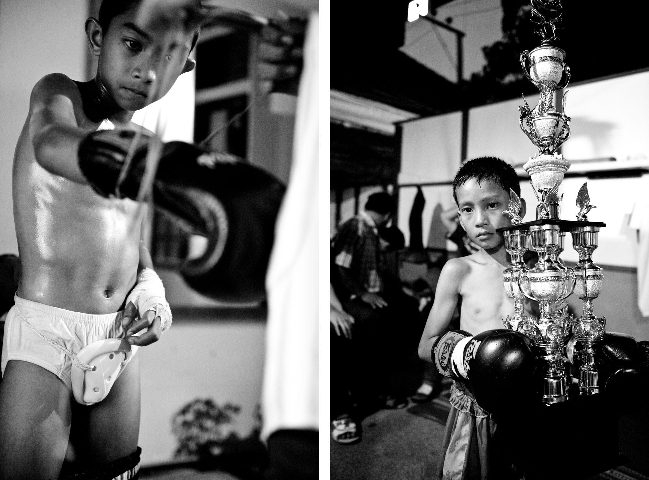 Left: The coach binds a boy the boxing gloves. Right: Tountong with a trophy after he has won the boxing match against Bank.