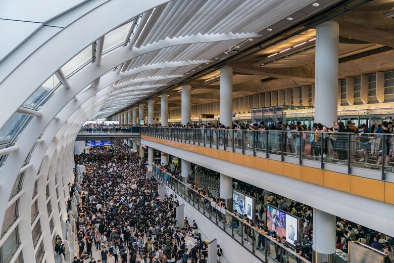 Protesters occupy the Hong Kong International Airport.