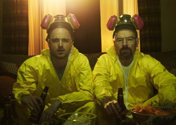 Aaron Paul as Jesse Pinkman and Bryan Cranston as Walter White in Breaking Bad.