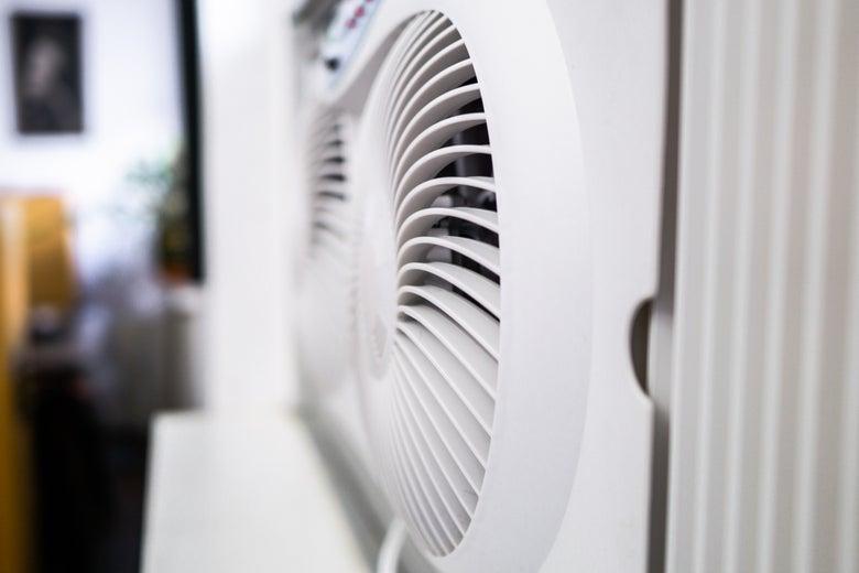 side view of a window fan