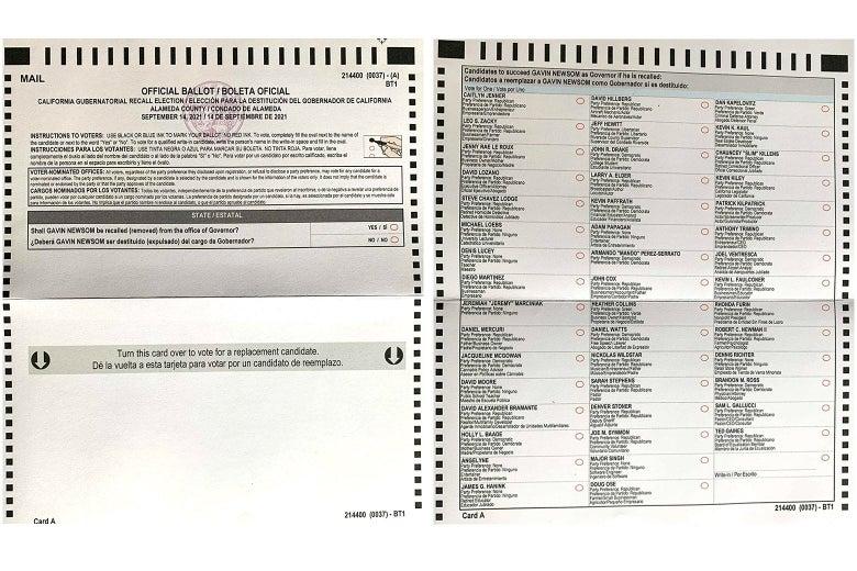 An unmarked California recall ballot.