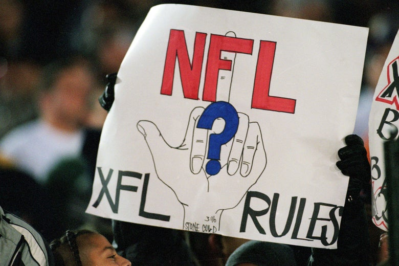 An anti-NFL sign at a 2001 XFL game.