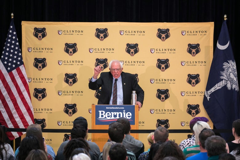 Bernie Sanders addresses the crowd at a packed rally inside the gymnasium at Clinton College.
