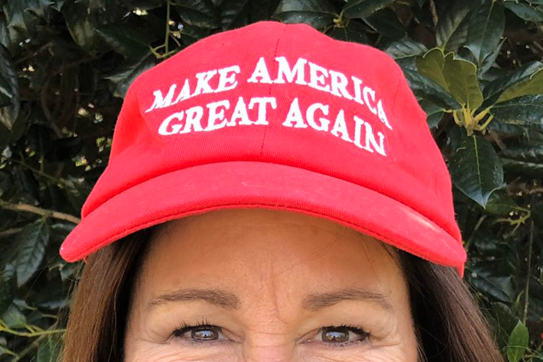 The top of Karen Pence's face is seen, with focus on the MAGA hat she's wearing.