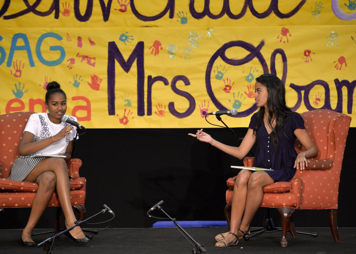 Obama talks positive body image regarding daughters and Michelle.