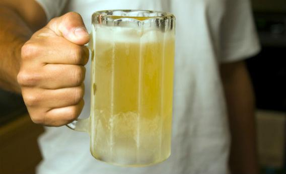 A frosted beer mug.