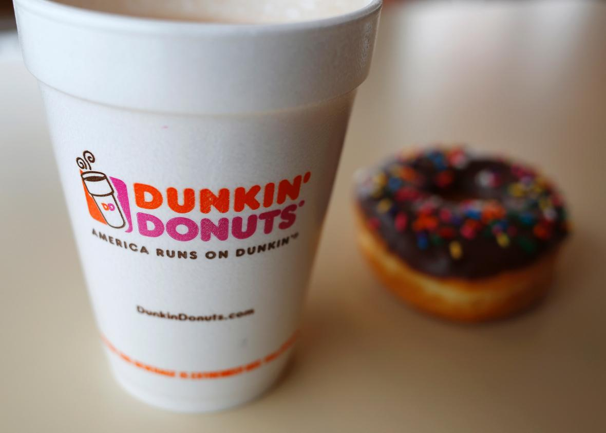 A classic Dunkin' Donuts coffee and donut.