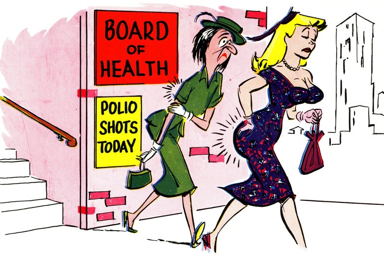 "Two women walk away from a building with signs out front that say ""Board of Health"" and ""Polio Shots Today."" One woman is depicted as homely and is holding her arm to indicate pain from a shot. The other is depicted as buxom and pretty and is holding her right buttock in the same way."