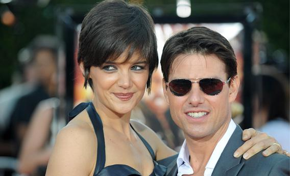 Tom Cruise and Katie Holmes arrive at the Los Angeles premiere of Dreamworks' 'Tropic Thunder' in Los Angeles California on Aug 11, 2008.