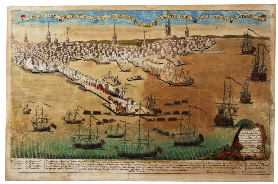 "GLC02873, Paul Revere, ""A view of… Boston… and Brittish [sic] Ships of War…  1768,"" May 1770. (Courtesy of The Gilder Lehrman Institute of American  History.)"