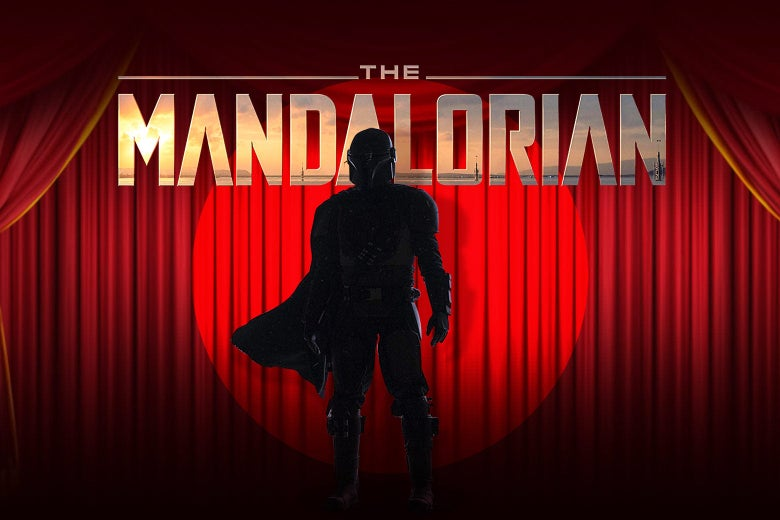 The Mandalorian onstage in a spotlight in front of a red curtain.
