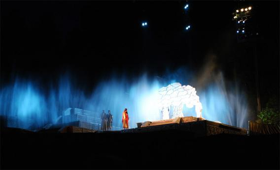 Nephi's vision of Lehi's dream, as depicted in the Hill Cumorah Pageant.