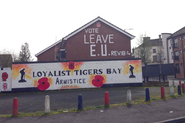A pro-Brexit mural adorns the side of a Protestant home in west Belfast.
