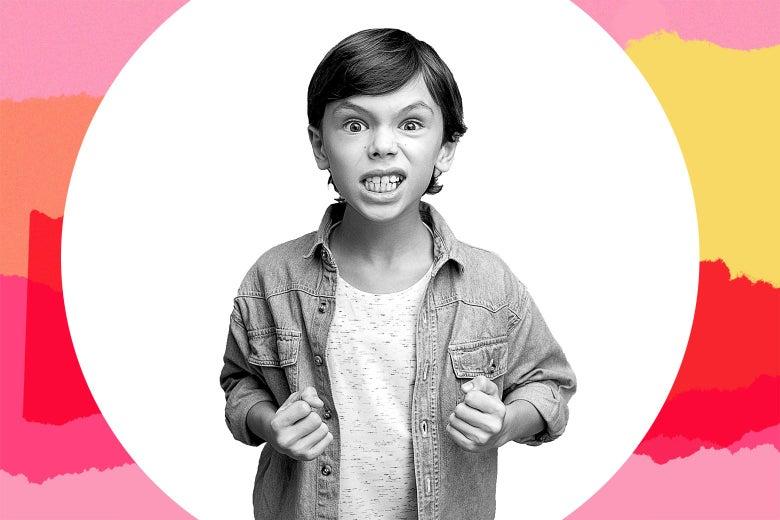 A kid making fists, looking menacing