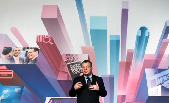 Nokia's President and CEO Stephen Elop gestures during a news conference at the Mobile World Congress at Barcelona.