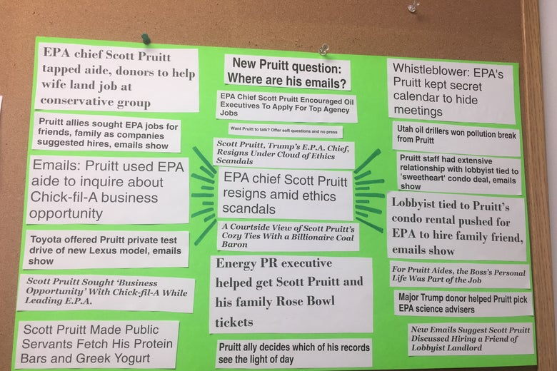 Sierra Club poster with headlines of Pruitt scandals.