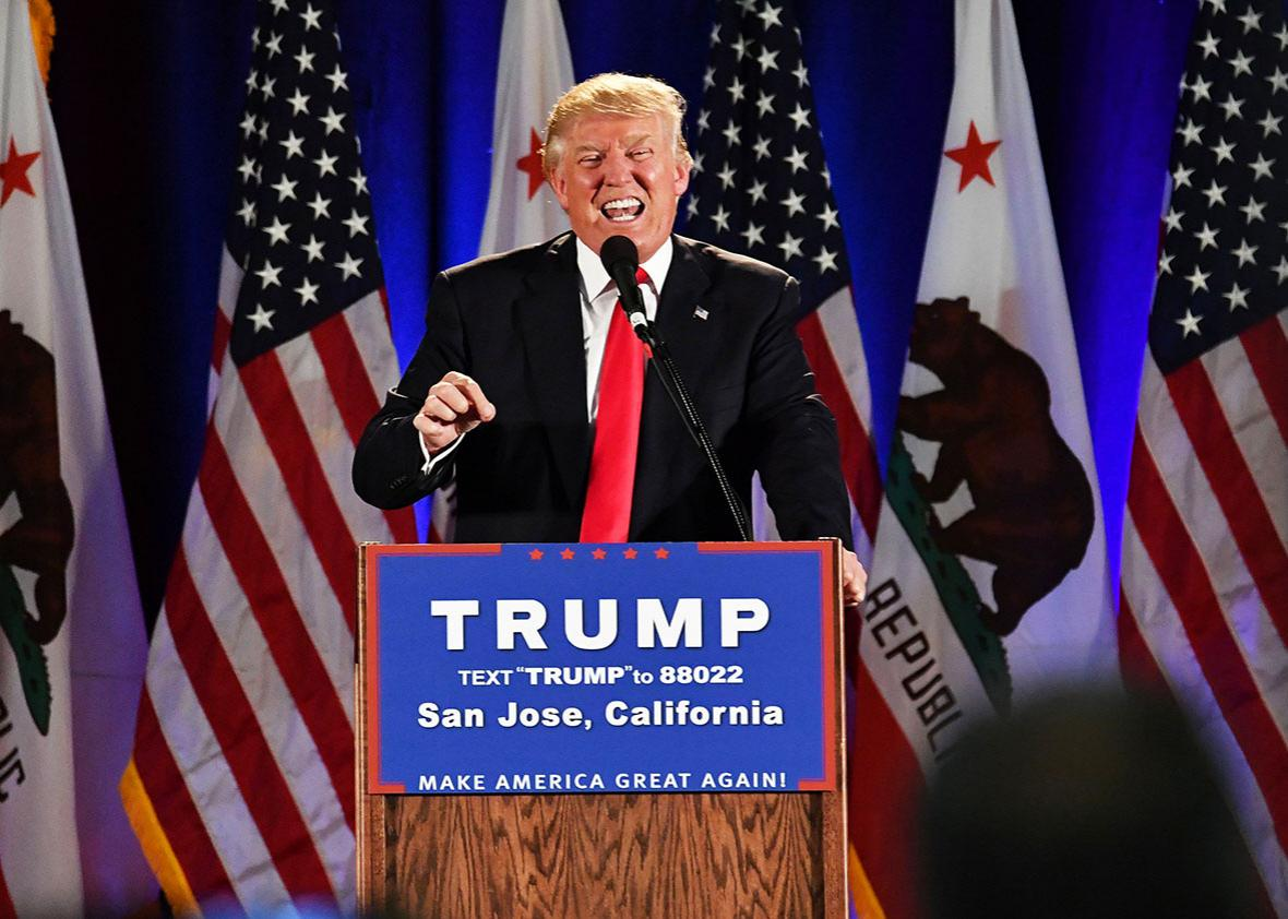 Republican presidential candidate Donald Trump speaks during a rally at the San Jose Convention Center in San Jose, California on June 02, 2016.