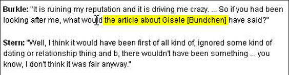 A supermodel. Page Six suggested Burkle two-timed his girlfriend. He says he never dated Gisele.
