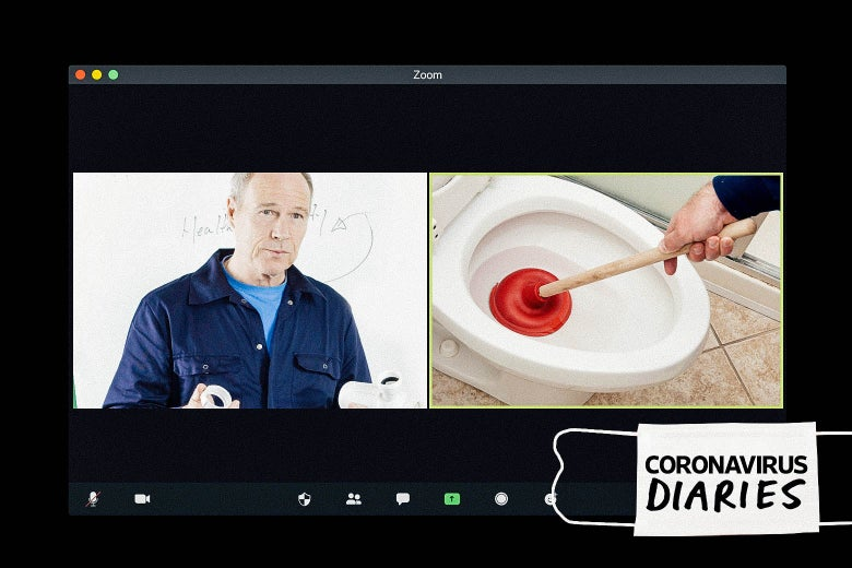 A computer screen shows a Zoom call between a plumber and a toilet bowl and plunger.