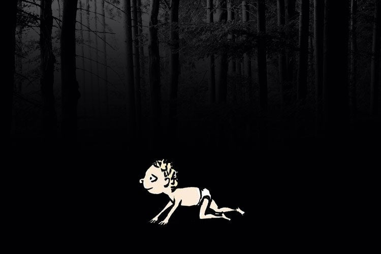 Photo illustration of a baby in the black woods.