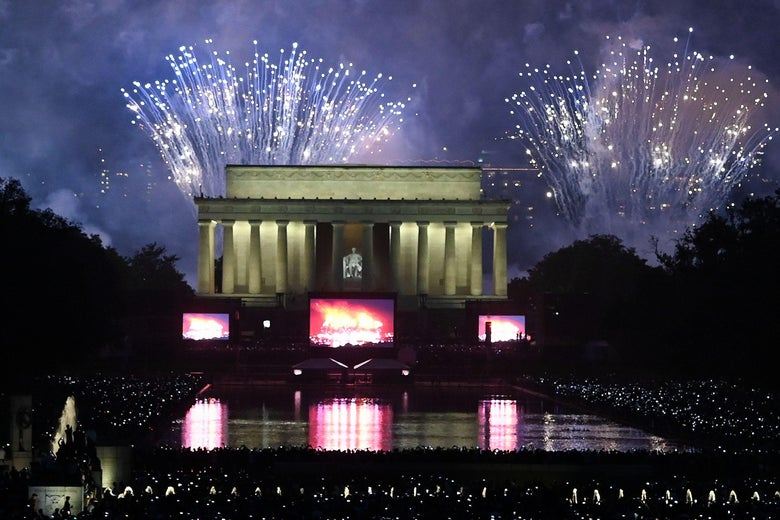 Fireworks explode over the Lincoln Memorial during the Fourth of July.