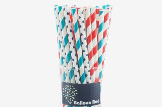 Balloon Red Biodegradable Paper Drinking Straws.