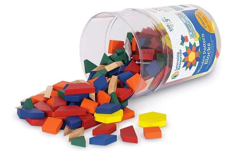 Colored polygon blocks.