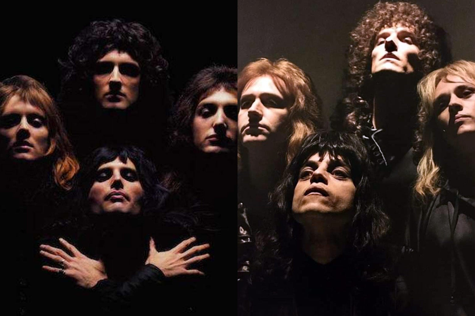 The band in the Bohemian Rhapsody video, in real life and in the movie.