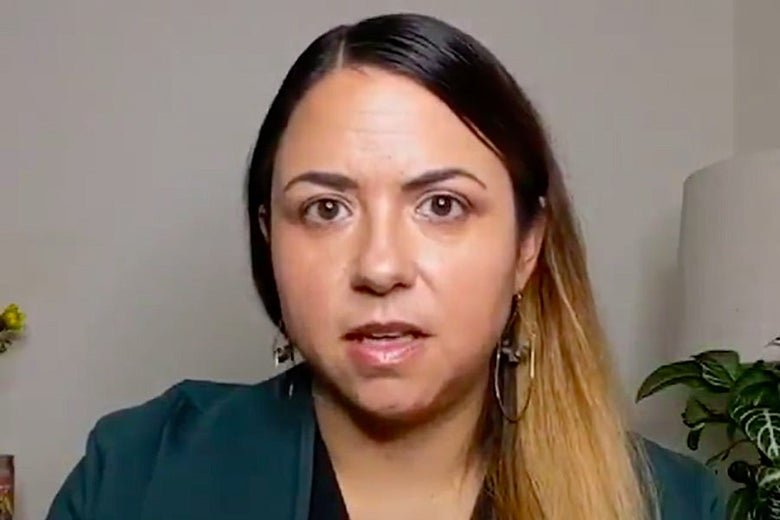 A screengrab of the video, showing Urquiza speaking to the camera.