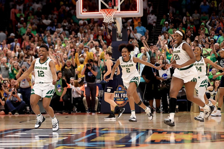 TAMPA, FLORIDA - APRIL 07:  Moon Ursin #12, DiDi Richards #2 and Kalani Brown #21 of the Baylor Lady Bears celebrate their 82-81 win over the Notre Dame Fighting Irish to win the championship game of the 2019 NCAA Women's Final Four at Amalie Arena on April 07, 2019 in Tampa, Florida. (Photo by Mike Ehrmann/Getty Images)