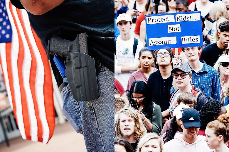 Side-by-side images of a protester wearing a pistol in Charlottesville, Virginia, in August 2017, and activists and students from Marjory Stoneman Douglas High School at the Florida State Capitol building on Wednesday.