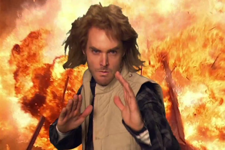 Will Forte strikes a karate pose in front of a fiery explosion in a still from the MacGruber credits.