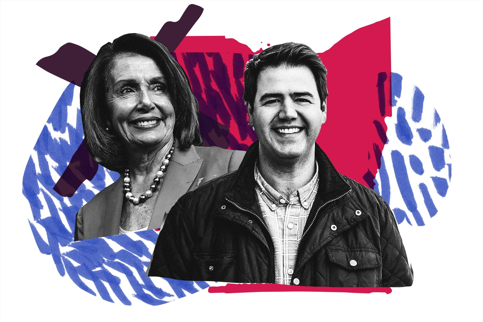 """Photo illustration: House Minority Leader Nancy Pelosi and Danny O'Connor with the """"Hot Seats"""" art."""