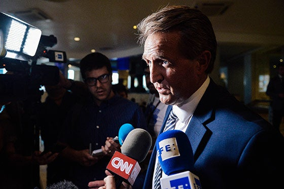 Sen. Jeff Flake speaks during a press conference at the Melia Cohiba hotel in Havana on June 4.