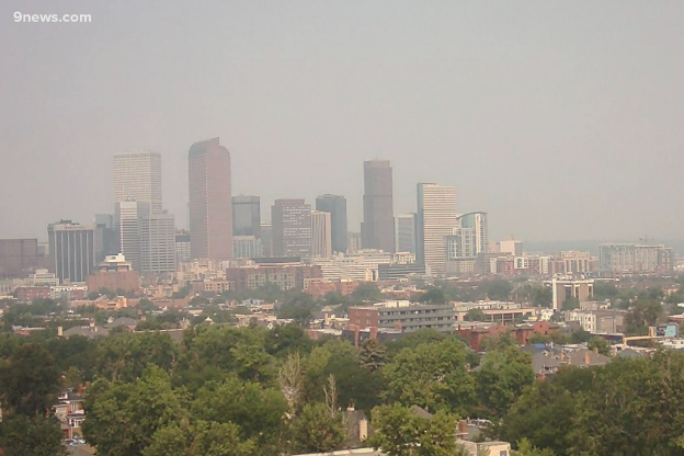 The Denver skyline shrouded in a smoky haze