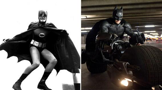 Adam West, left, as Batman in the 1965 television show, and Christian Bale, right, as Batman in The Dark Knight Rises.