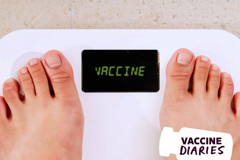 "Feet on a scale. Where the weight would be, it says, ""VACCINE."""