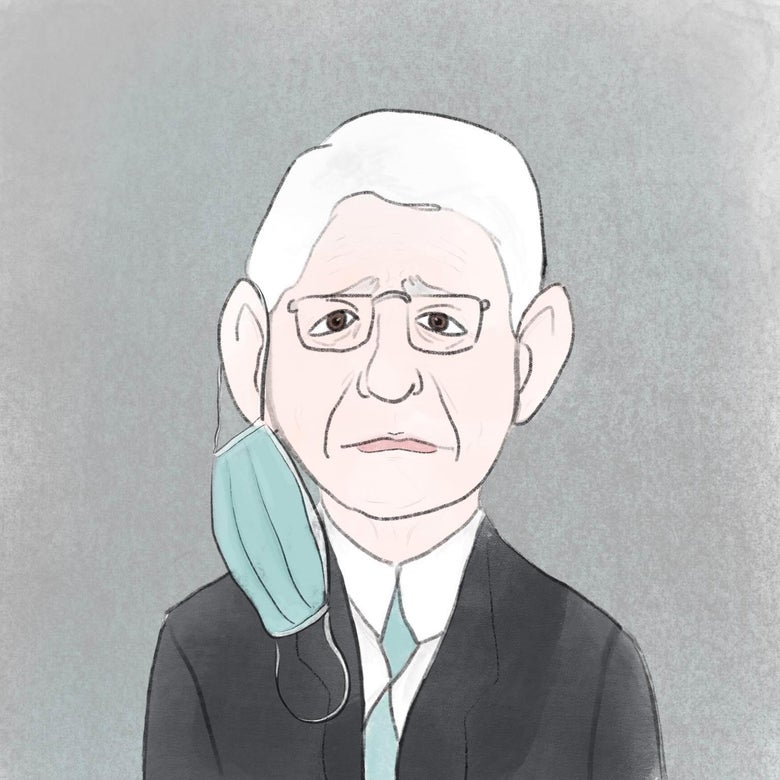 Anthony Fauci is drawn, a face mask dangling from his right ear.