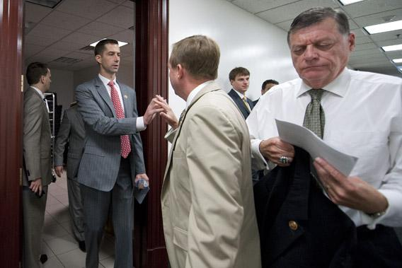 "Rep. Thomas B. ""Tom"" Cotton, R-AK., Rep. Mick Mulvaney, R-SC., and Rep. Tom Cole, R-OK."