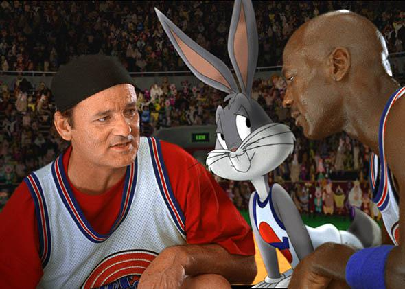 Bill Murray huddled with Bugs Bunny and Michael Jordan in Space Jam.