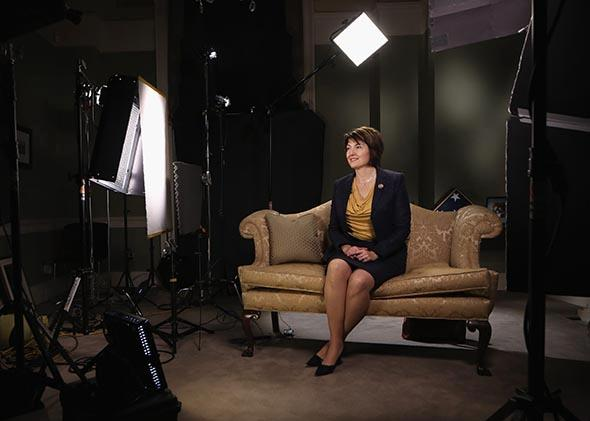 Cathy McMorris Rodgers sits on a couch as she prepares her State of the Union response.
