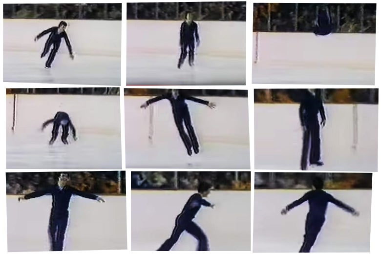 Terry Kubicka performs a back flip in the free skate portion of the 1976 Olympics.