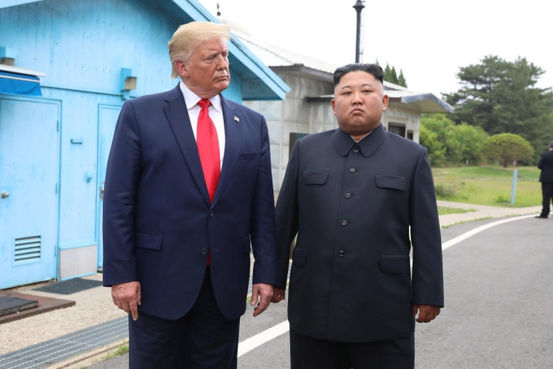 North Korean leader Kim Jong Un and President Trump inside the demilitarized zone (DMZ) on June 30, 2019 in Panmunjom, South Korea.