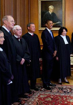 Justices and Barack Obama. Click image to expand.