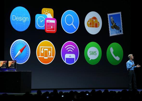 Apple VP Craig Federighi introduces OS X Yosemite during the Apple Worldwide Developers Conference in San Francisco on June 2, 2014.