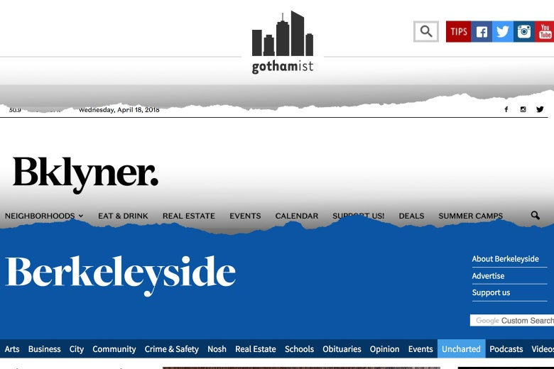 Photo illustration: the logos for Gothamist, Bklyner, and Berkeleyside.