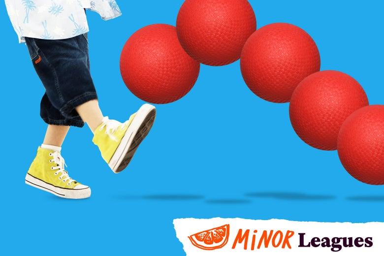 A kid bunts a kickball.