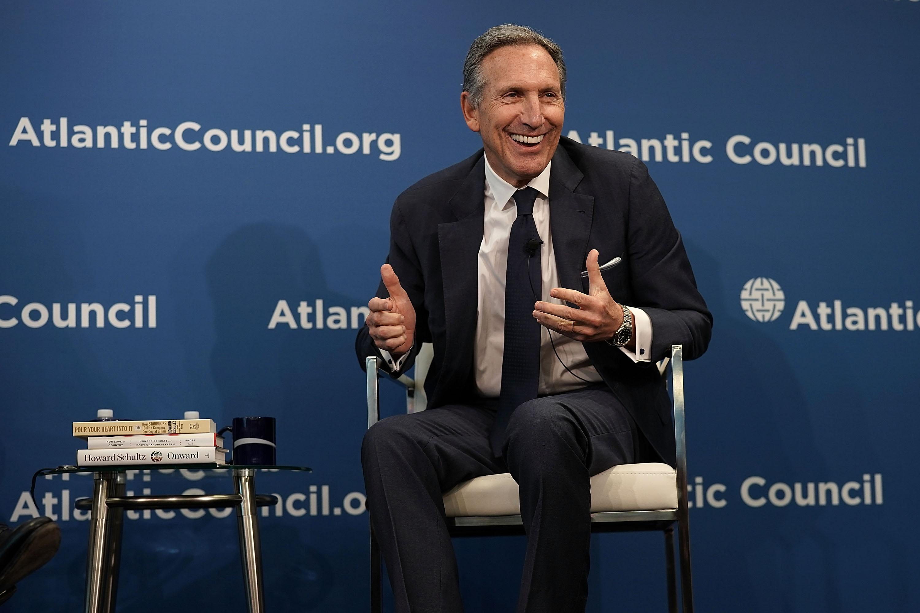WASHINGTON, DC - MAY 10:  Executive Chairman of Starbucks Corporation Howard Schultz participates in a discussion at the Atlantic Council May 10, 2018 in Washington, DC. The Atlantic Council held a discussion on 'The Role of a Global Public Company.'  (Photo by Alex Wong/Getty Images)
