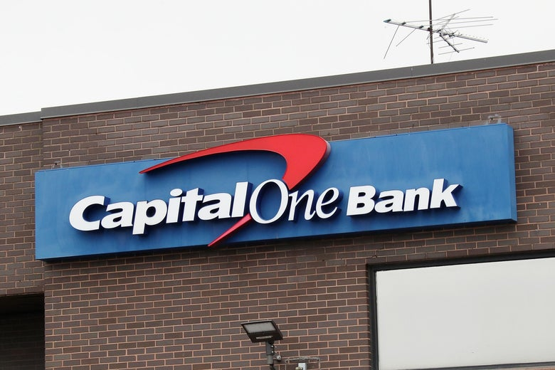 Exterior of a Capital One bank.