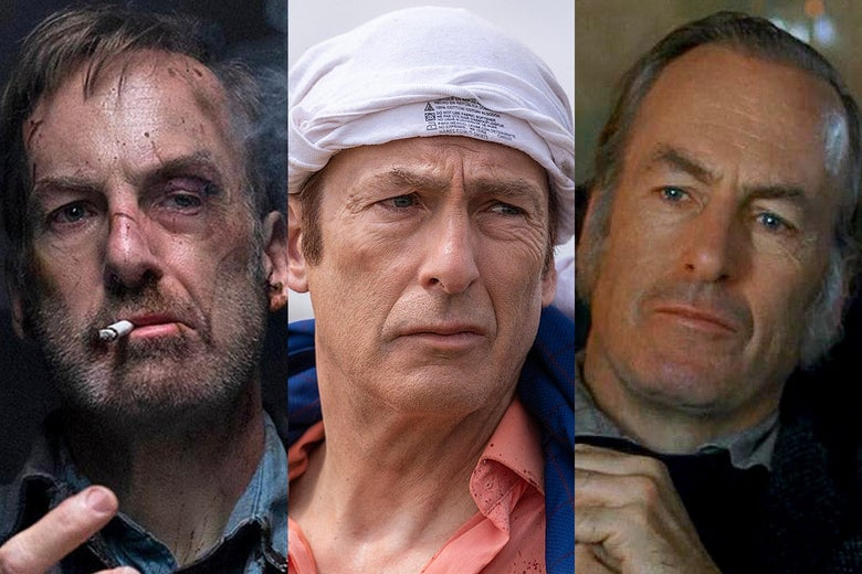 A triptych of still images of Bob Odenkirk in various roles. On the left, he's bruised up and smoking a cigarette in Nobody, in the center, he's wearing a shirt on his head in a still from Better Call Saul, on the right, he's in 19th century garb in a still from Little Women.